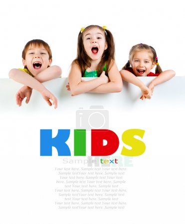 Photo for Cute little kids over a white background - Royalty Free Image