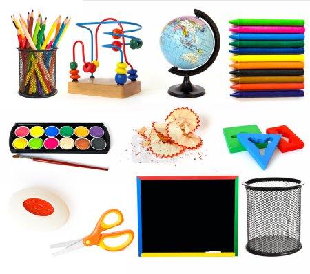 Photo pour Groupe d'objets thématiques éducatifs sur fond blanc - image libre de droit