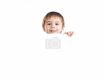 Photo for Cute little boy ower a white background - Royalty Free Image
