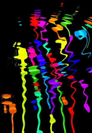 Photo for Colorful blots on a black background mirrored on the water - Royalty Free Image