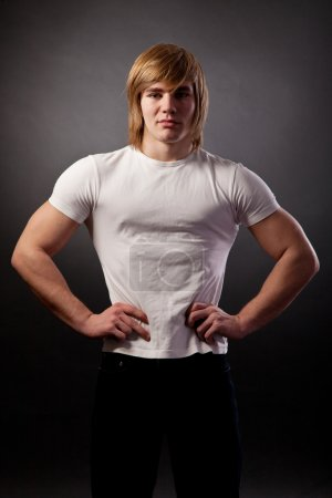 Portrait of young bodybuilder man