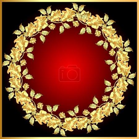 Illustration for Illustration background with gold(en) rose on circle - Royalty Free Image