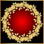 Illustration background with gold(en) rose on circ...