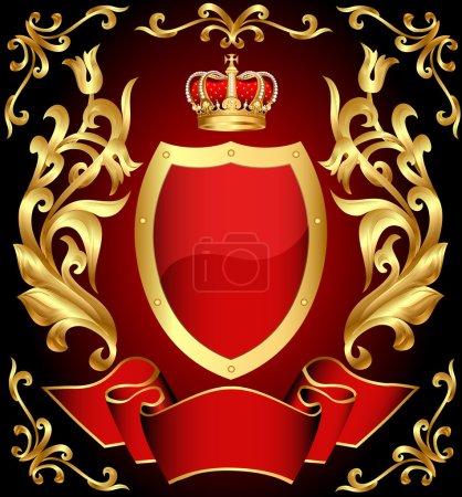 Escudo de pistola con corona y oro (es) ornamento y cinta