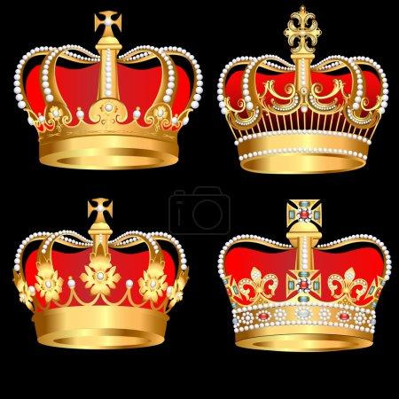 Photo pour Illustration set couronnes d'or sur fond noir - image libre de droit