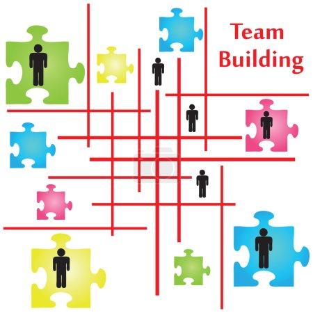 Illustration pour Vecteur de quatre pièces de puzzle sur le thème du team building. - image libre de droit