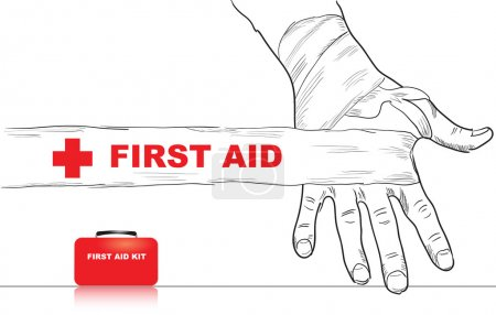 Illustration for Creativity on first aid. Bandaged hand. Vector illustration. - Royalty Free Image