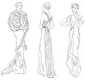 Three female figures in evening dresses Vector illustration hand-drawing