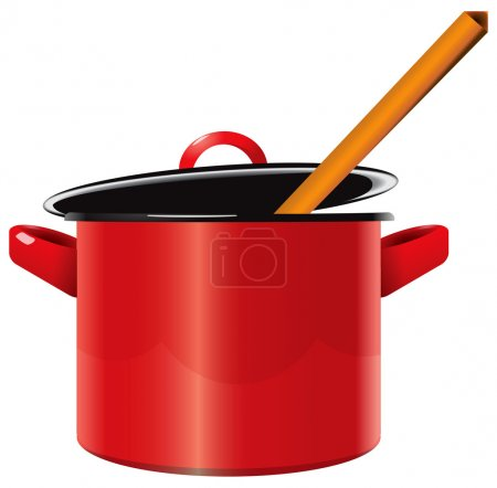 Illustration for Red enameled saucepan with a lid and a wooden spoon. Vector illustration. - Royalty Free Image