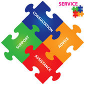 Vector illustration of puzzles with words on the topic of service