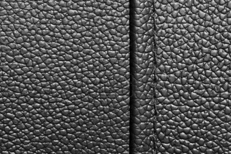Photo pour Cuir noir avec couture. peut être utilisé comme arrière-plan. beaucoup d'espace de la copie - image libre de droit