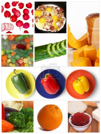 Photo pour Un ensemble de neuf images sur le thème de l'alimentation - image libre de droit