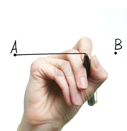 Photo for An image of a hand drawing a line - Royalty Free Image