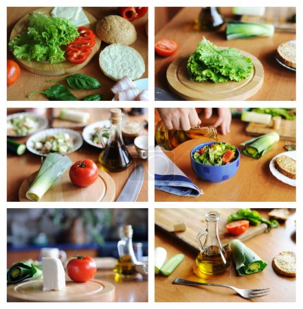 Photo for An image of a set of photos with healthy food on them - Royalty Free Image