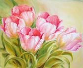 """Постер, картина, фотообои """"Картина маслом тюльпаны"""""""