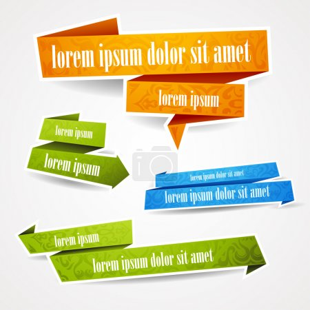 Illustration for Colorful and decorated paper banners for your text - Royalty Free Image