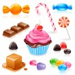 Set of various candy elements including caramel, c...