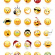 Large vector set of 30 emoticons with various faci...