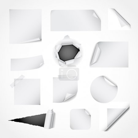 Set of white paper design elements