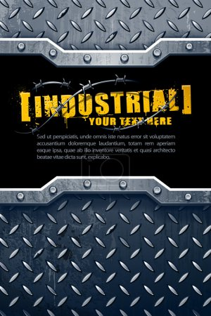 Illustration for Industrial background with grunge elements and place for your text. Vector illustration. - Royalty Free Image