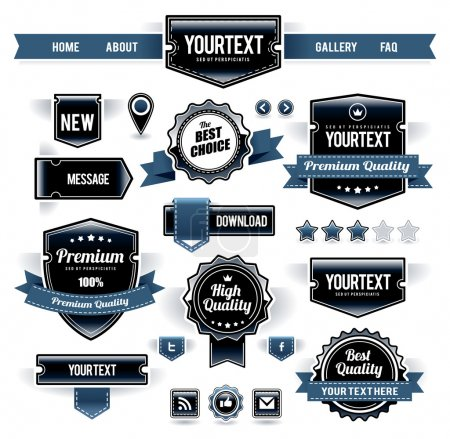 Illustration for Vector set of retro labels, buttons and icons. - Royalty Free Image