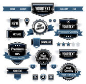Vector set of retro labels buttons and icons