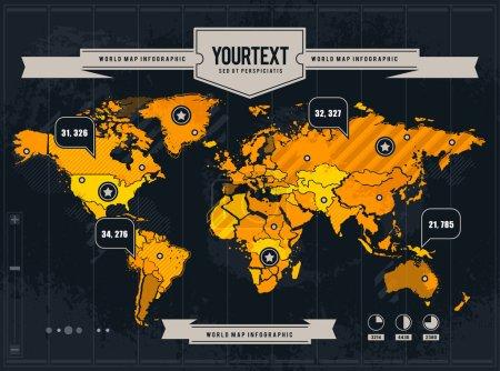 Photo pour Carte du monde vectorielle avec grunge et éléments infographiques . - image libre de droit