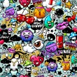 Graffiti seamless texture with bizarre elements an...