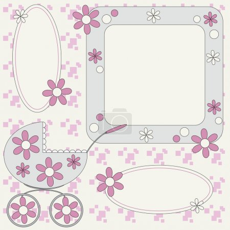 Template for baby photo album or greetings card