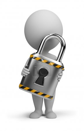 Photo for 3d small person with a lock in the hands of. 3d image. Isolated white background. - Royalty Free Image