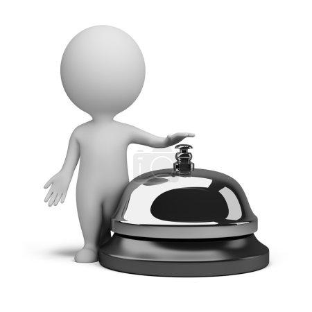 Photo pour 3d petite personne et une cloche de service. Image 3D. Fond blanc isolé . - image libre de droit