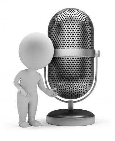 3d small - retro microphone