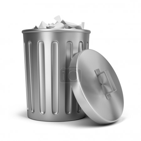 Photo for Steel trash can. 3d image. Isolated white background. - Royalty Free Image