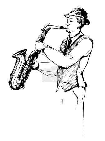 Illustration pour Un musicien avec un sketch de saxophone arcwise - image libre de droit