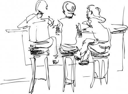 Illustration pour Croquis noir et blanc trois - image libre de droit