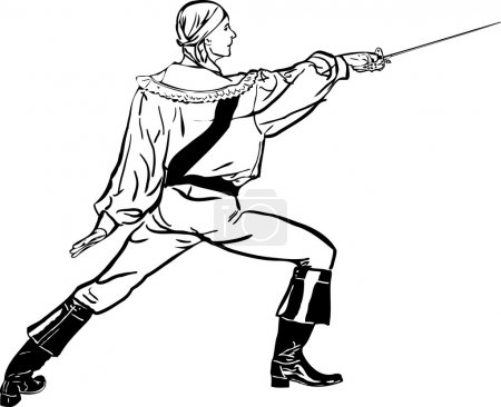 Sketch a fencer with a sword lunges forward