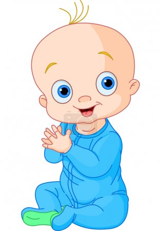 Illustration pour Illustration de mignon bébé garçon applaudissements mains - image libre de droit