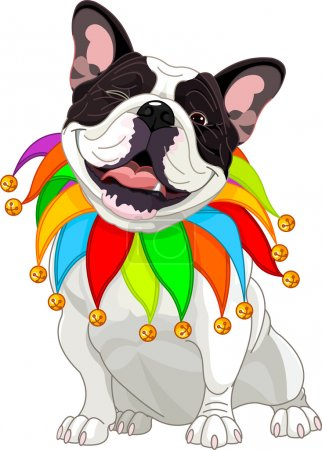 Illustration for French bulldog wearing a colorful collar with bells - Royalty Free Image