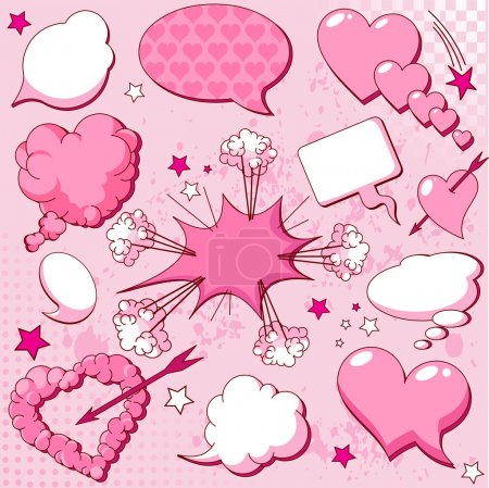 Illustration for Comics style love speech bubbles - Royalty Free Image