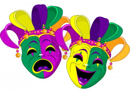 Illustration for Mardi Gras Comedy and Tragedy Masks - Royalty Free Image