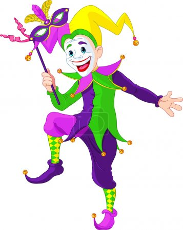 Illustration for Clip art illustration of a cartoon Mardi Gras jester holding a mask - Royalty Free Image