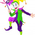 Clip art illustration of a cartoon Mardi Gras jest...