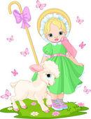 Little shepherdess with lamb