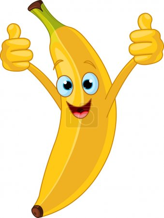 Illustration for Illustration of Cheerful Cartoon banana character - Royalty Free Image