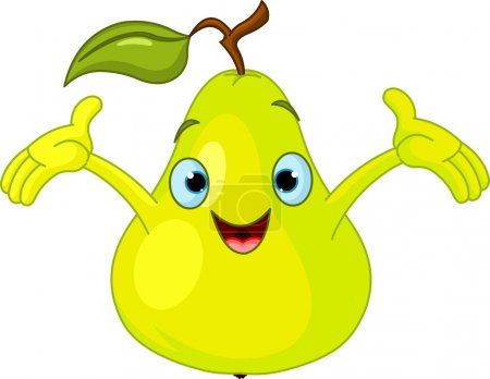 Illustration for Illustration of Cheerful Cartoon Pear character - Royalty Free Image