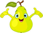 Illustration of Cheerful Cartoon Pear character