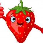 Illustration of Cheerful Cartoon Strawberry charac...