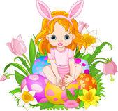 Roztomilá holčička Velikonoce