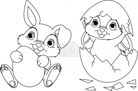 Illustration for Black and white Easter Bunny coloring page - Royalty Free Image