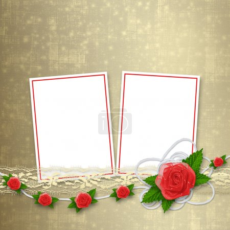 Card for invitation or congratulation with buttonhole and lace